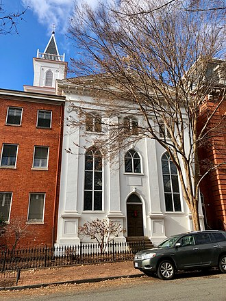 As bishop, Neale continued to reside near the Georgetown Visitation Monastery. Visitation Monastery, Georgetown, Washington, DC (45883484484).jpg