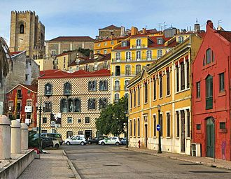 Tourism in Lisbon - A view of the city with Lisbon's cathedral in the background