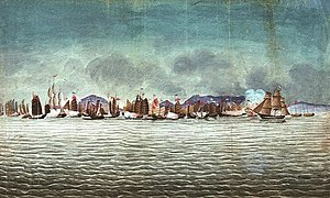 Battle of Chuenpi - The Volage and Hyacinth engaging Chinese war junks