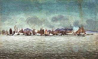 HMS Hyacinth (1829) - Image: Volage & Hyacinth in Chuenpee