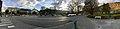 Voss Church (Voss kirke-kyrkje, Vangskyrkja), Voss, Norway 2016-10-25 -13- Uttrågata, kino, tinghus, Bergsliplassen, Skyss buses (distorted panorama).jpg