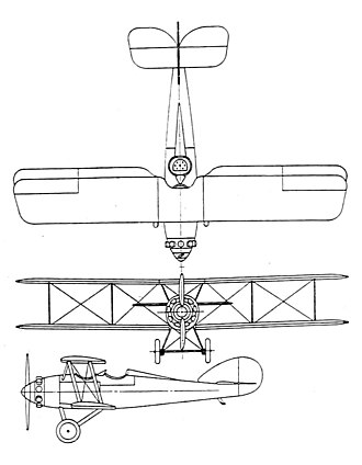 Vought FU - Vought UO-1 3-view drawing from Aero Digest July 1926