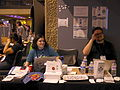 WMF Community Advocacy and Engagement stand at the Wikimania 2014 communities village at 16-40 on Friday 01.jpg