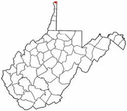 Location of Chester, West Virginia