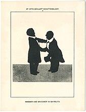 Bruckner und Wagner 1873 in Bayreuth; Silhouette von Otto Böhler (Quelle: Wikimedia)