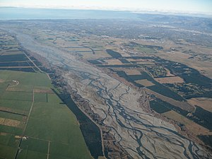 Alluvial plain - Floodplain (centre) within the alluvial plain of the Waimakariri River, New Zealand (part of the Canterbury Plains).