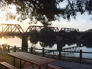Wauchope, New South Wales - The Hastings River at the northern end of Wauchope with the North Coast Railway bridge.