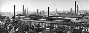 Manfréd Weiss Steel and Metal Works - Photograph about the Weiss Manfréd Works in Csepel Island in 1901. The industrial complex consisted more than 32 factories.