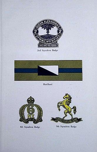 Wellington Mounted Rifles Regiment - 2nd Squadron Badge, Regiment Hat-Band, 6th Squadron Badge, 9th Squadron Badge