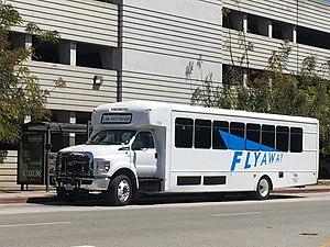 FlyAway (bus) - Westwood FlyAway bus stopped at UCLA Parking Structure 32.