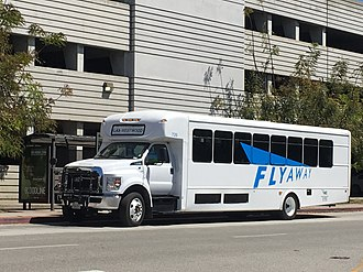 FlyAway (bus) - Westwood FlyAway bus stopped at UCLA Parking Structure 32.