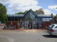 Weybridge station building look east.JPG