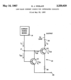 Bob Widlar - Widlar current source. Original drawing from the 1967 U.S. patent.