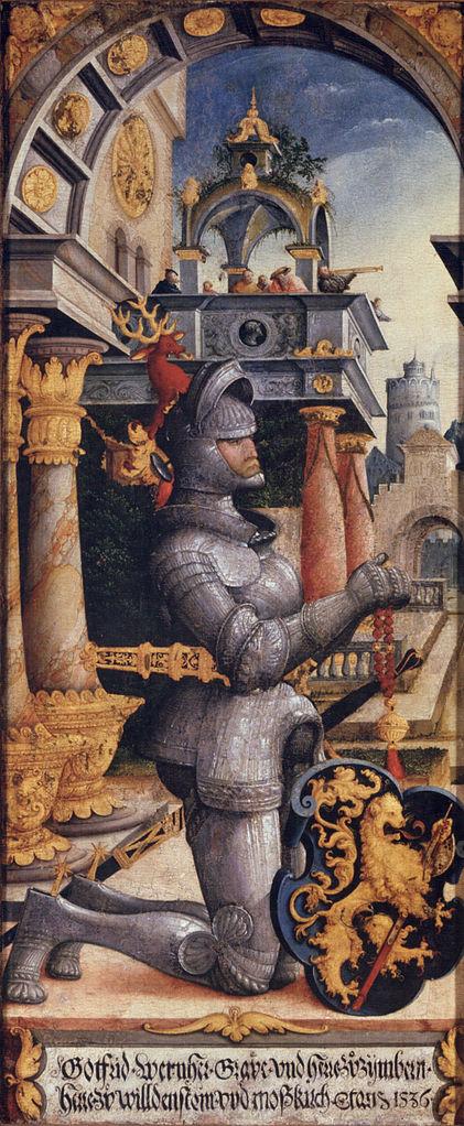 Das Wappen ist noch freiherrlich ungeviert und ohne Helmzier, die Inschrift aber übermalt und Gottfried Werner als Graf bezeichnet. Die Erhebung in den Grafenstand erfolgte 1538.