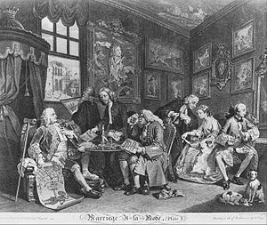 History of comics - Image: William Hogarth Marriage à la Mode, Plate 1, (The Marriage Contract) Google Art Project