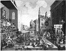 Le dessin montre une scène se déroulant à l'extérieur près de bâtiments. À la gauche apparaît ce qui semble un tribunal, lequel se tient dans des gradins. Au milieu de l'image, une statue trône au milieu de ce qui semble un jardin de ville. À la gauche de l'image, deux personnes sont au pilori et à leurs pieds se tiennent différentes personnes. En arrière-plan, une église est dessinée.