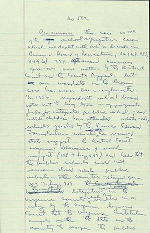 Stanley plan - The first page of Justice William O. Douglas' draft of the decision in Griffin v. School Board of Prince Edward County.
