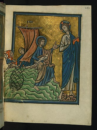 Restoration of Peter - William de Brailes, Christ Appears at Lake Tiberias, c. 1250.