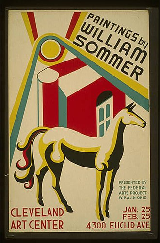 William Sommer - Sommer paintings exhibit poster, Cleveland, 1938