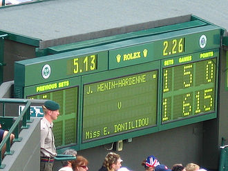 Centre Court - Dot-matrix Wimbledon scoreboard in use from 1982 to 2008 (photo from No. 1 Court.)