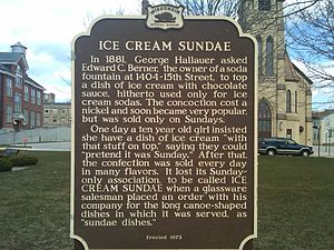 Sundae - Wisconsin Historical Marker detailing Two Rivers as the locale of the invention of the ice cream sundae - Central Park, Two Rivers, WI