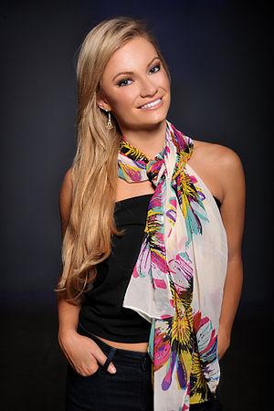 Scarf - Model wearing a modern colorful fashion scarf