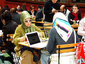 Islamic dress in Europe - Turkish women wearing headscarves, Istanbul, Turkey.