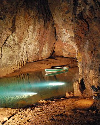 Wookey Hole Caves - An underground lake in the first chamber