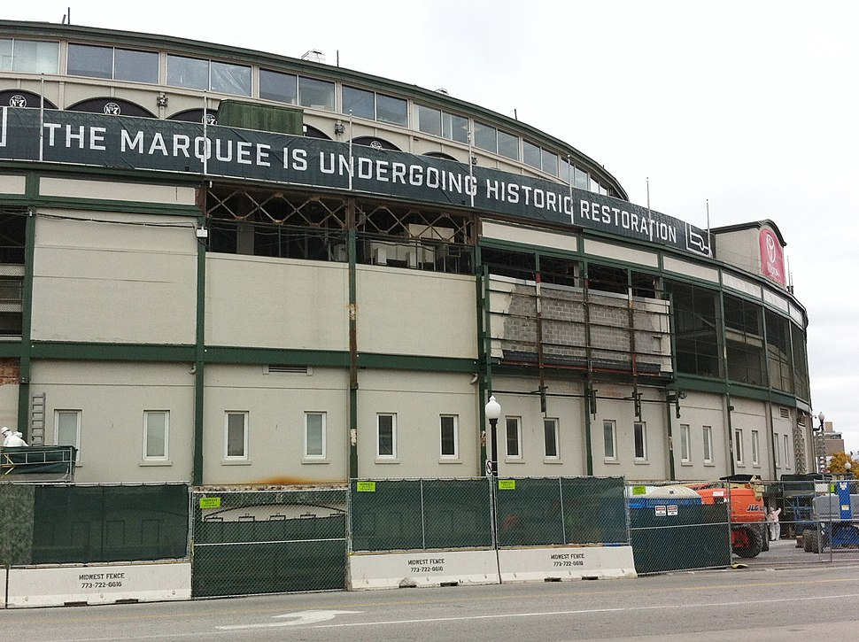 Wrigley Field marquee removed for renovation 01
