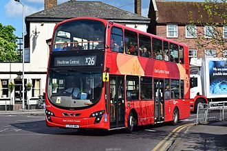 London Buses route X26 - London General Wright Eclipse Gemini bodied Volvo B9TL at New Malden in April 2017