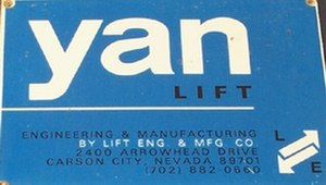 Lift Engineering - The nameplate found on Lift Engineering's ski lifts.