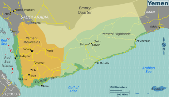 Yemen travel guide at wikivoyage yemen regions color coded map gumiabroncs Images