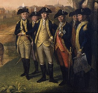 Military history of the United States - Detail from Washington and his Generals at Yorktown (c. 1781) by Charles Willson Peale. Lafayette (far left) is at Washington's right, the Comte de Rochambeau to his immediate left.