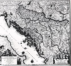 Map of Croatia, Dalmatia, Slavonia, Bosnia, Serbia, Istria and the Republic of Ragusa in the 18th century