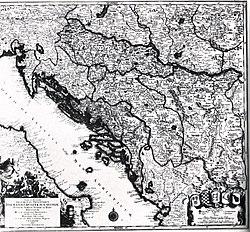 Mapa da Croácia, Dalmácia, da Eslavônia, Bósnia, Sérvia, Istria e da República de Ragusa, no século 18