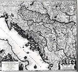 Zemljopisna karta Dalmacije, Hrvatske, Slovenije, Bosne, Srbije, Istre i Dubrovacke republike u 18. st.jpg