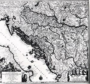 Kingdom of Croatia (Habsburg) - Map of Croatia, Dalmatia, Slavonia, Bosnia, Serbia, Istria and the Republic of Ragusa in the 18th century