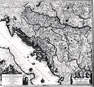 Kingdom of Croatia (Habsburg) - Map of Croatia, Dalmatia, Slavonia, Bosnia, Serbia, Istria and the Republic of Ragusa in the 18th century