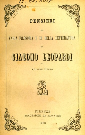 The Zibaldone di pensieri, cover of the 1900 edition Zibaldone di pensieri VI.djvu