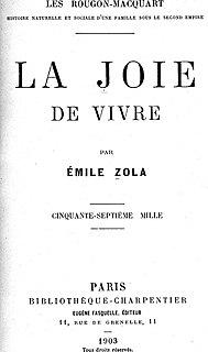 <i>La joie de vivre</i> novel by Émile Zola