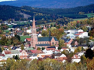 The town of Zwiesel with the Church of Saint Nicholas