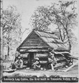 """Lamon's log cabin, the first built in Yosemite Valley, Calif."" Their work completed, two men sit on stumps in front of - NARA - 559326.tif"
