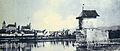 'Heilig Hüsli' in Rapperswil nach dem Abbruch der historischen Seebrücke, Lindenhof mit Schloss und Stadtkirche, SW-Fotografie um 1900 - Stadtmuseum Rapperswil - 'Stadt in Sicht - Rapperswil in Bildern' 2013-10-05 16-21-29 (P7700).JPG