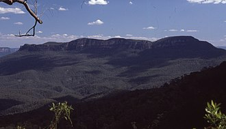 Jamison Valley - A view of Mount Solitary from the floor of the Jamison Valley