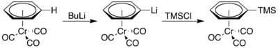 (Benzene)chromiumtricarbonyl lithiation TMS.png