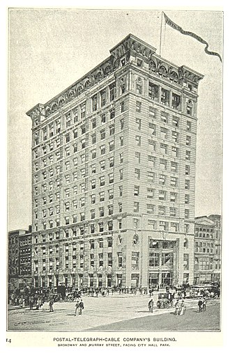 Postal Telegraph Company - Image: (King 1893NYC) pg 215 POSTAL TELEGRAPH CABLE COMPANY'S BUILDING, BROADWAY AND MURRAY STREET