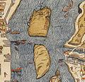 Île aux Vaches & île Notre-Dame, Plan de Paris vers 1550.jpg