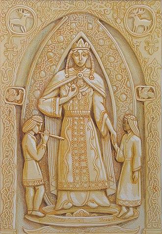 "Lada (mythology) - Carving by Maximilian Presnyakov: ""Lada"" (""Slav cycle""), 1998."