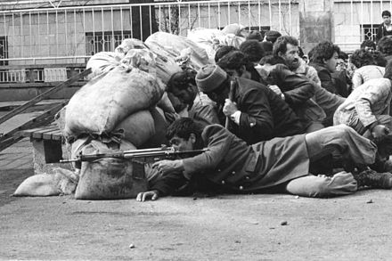 Iranian armed rebel during the revolution mrdm mslH nqlby.JPG
