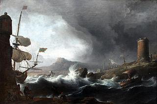 Stormy sea at coast mountain